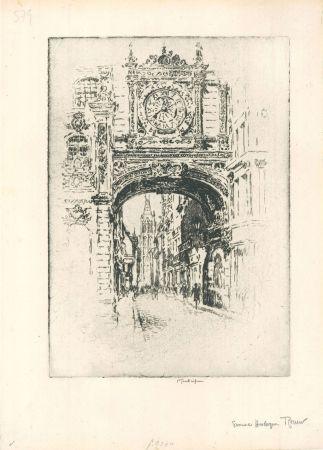 Гравюра Pennell - Grosse horloge, Rouen