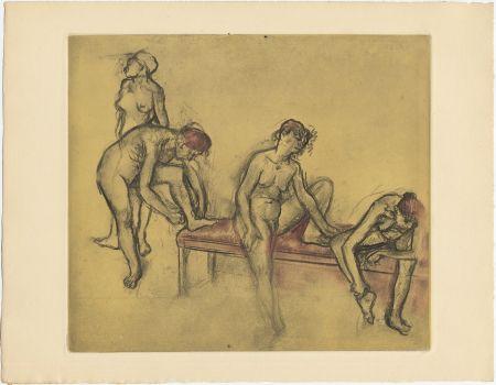 Офорт И Аквитанта Degas - Groupe de danseuses (étude du nus et mouvements. 1897)
