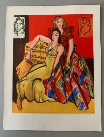Литография Matisse - Henri Matisse – Deux jeunes filles, robe jaune, robe ecossaise