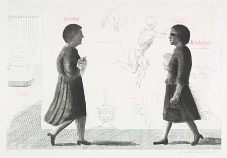 Офорт И Аквитанта Hockney - Homage to Michelangelo