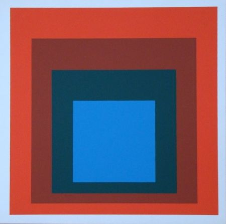 Сериграфия Albers - Homage to the Square - blue+darkgreen with 2 reds, 1955