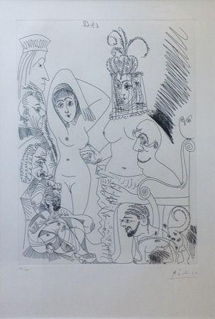 Офорт Picasso - Homme barbu songeant à une scène des Mille et une nuits, avec derrière lui des ancêtres réprobateurs
