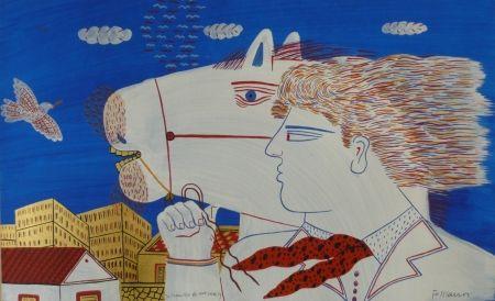 Литография Fassianos - Homme et cheval