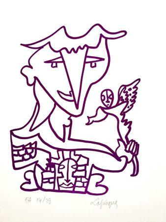 Литография Lapicque - Homme Oiseau