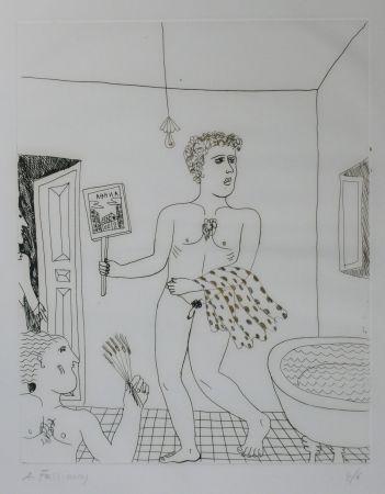 Гравюра Сухой Иглой Fassianos - Homme sortant du bain