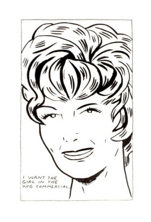Литография Pettibon - I Want to be the Girl in the Wig Commercial