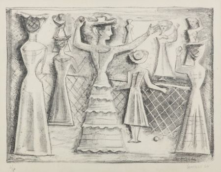 Литография Campigli - Il gioco della palla