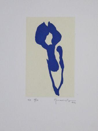 Акватинта Hernandez Pijuan - Iris blau IX / Blue Iris IX