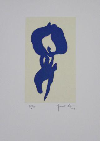 Акватинта Hernandez Pijuan - Iris blau V / Blue Iris V