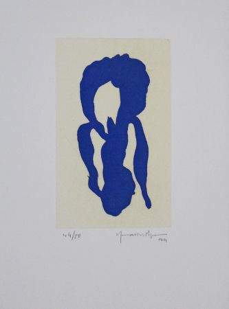 Акватинта Hernandez Pijuan - Iris blau X / Blue Iris X