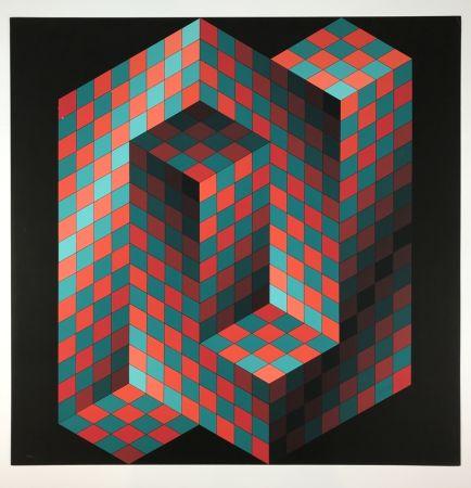 Литография Vasarely - Izzo-Rouge-Vert