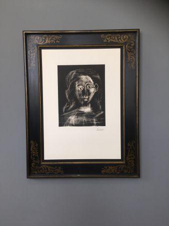 Линогравюра Picasso -  Jacqueline aux chevaux flous, en buste