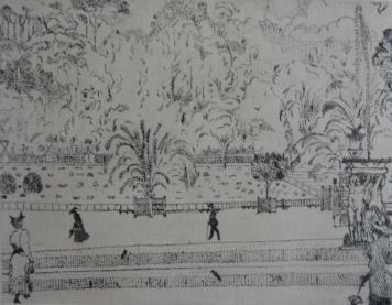 Гравюра Vrieslander - Jardin du Luxembourg