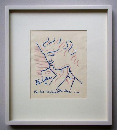 Литография Cocteau - Je suis la jeune fille bleue