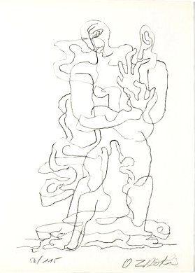 Литография Zadkine - Jean Cassou: vingt-deux poèms