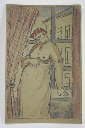 Нет Никаких Технических Lébédeff  - Jean Lébédeff (1884-1972). Femme à la fenêtre. Encre et aquarelle.