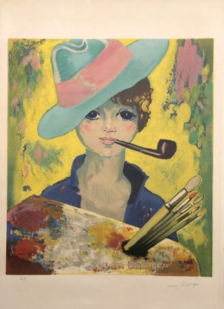 Литография Van Dongen - Jean Marie avec un chapeau et une pipe