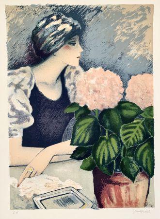 Литография Cassigneul  - Jeune Femme au Hortensia