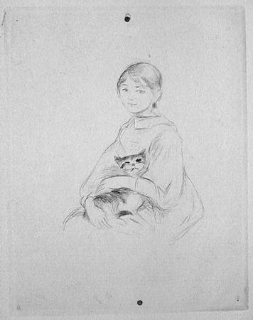 Гравюра Сухой Иглой Morisot - Jeune fille au chat