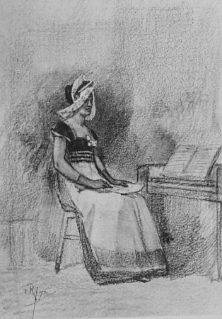 Литография Rops - Jeune fille au clavenin