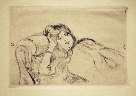 Гравюра Сухой Иглой Morisot - Jeune fille au repos