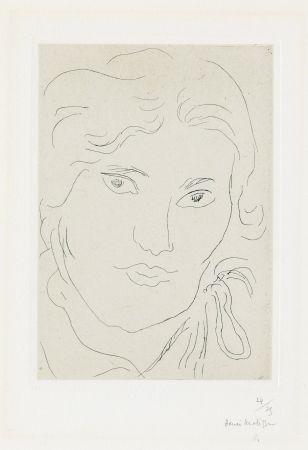 Гравюра Matisse - Jeune fille de face, flot de ruban sur l'épaule gauche