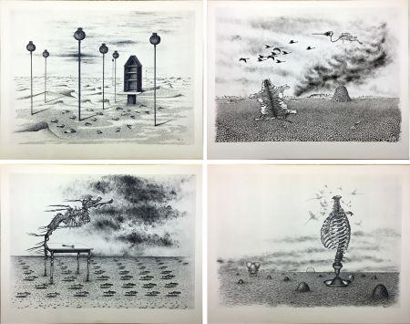 Иллюстрированная Книга Toyen - Jindrich Heisler : CACHE-TOI GUERRE ! Poème. Cycle de 9 dessins de Toyen de 1944