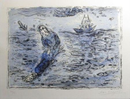 Литография Chagall - Jonas Sur Fond Bleu