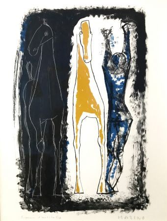 Литография Marini - Jongleur Et Deux Chevaux