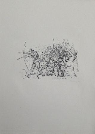 Литография Slevogt - Kampf der Hellenen gegen die Barbaren