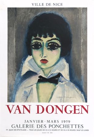 Литография Van Dongen - Kees Van Dongen (1877-1968). Affiche Galerie des Ponchettes. 1959. Lithographie.