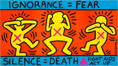 Литография Haring - Keith Haring 'Ignorance = Fear' 1989 Plate Signed Original Pop Art Poster