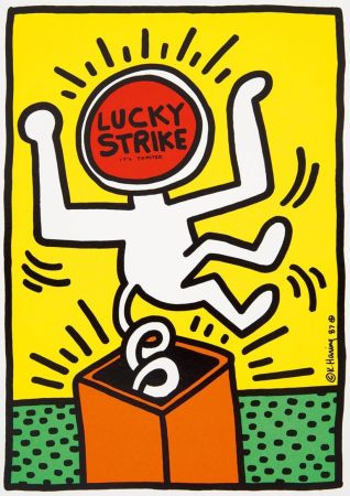 Литография Haring - Keith Haring 'Lucky Strike II' 1987 Plate Signed Original Pop Art Poster