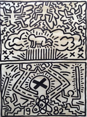 Литография Haring - Keith Haring 'Nuclear Disarmament' 1982 Plate Signed Original Pop Art Poster