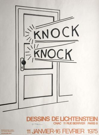 Литография Lichtenstein - 'Knock Knock' Hand Signed Pop Art Poster Print