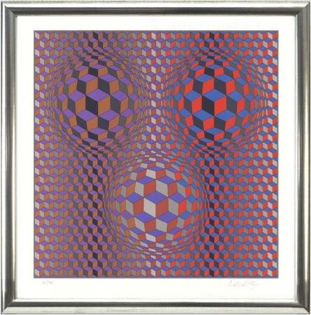 Литография Vasarely - Komposition In Rot Und Violett