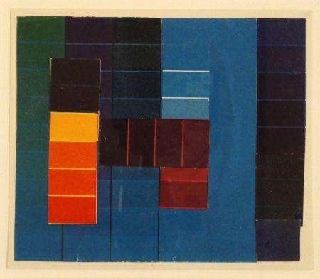 Монотип Itten - Komposition mit Farbkontrasten aus Blau/Grün/Violett und Rot/Gelb