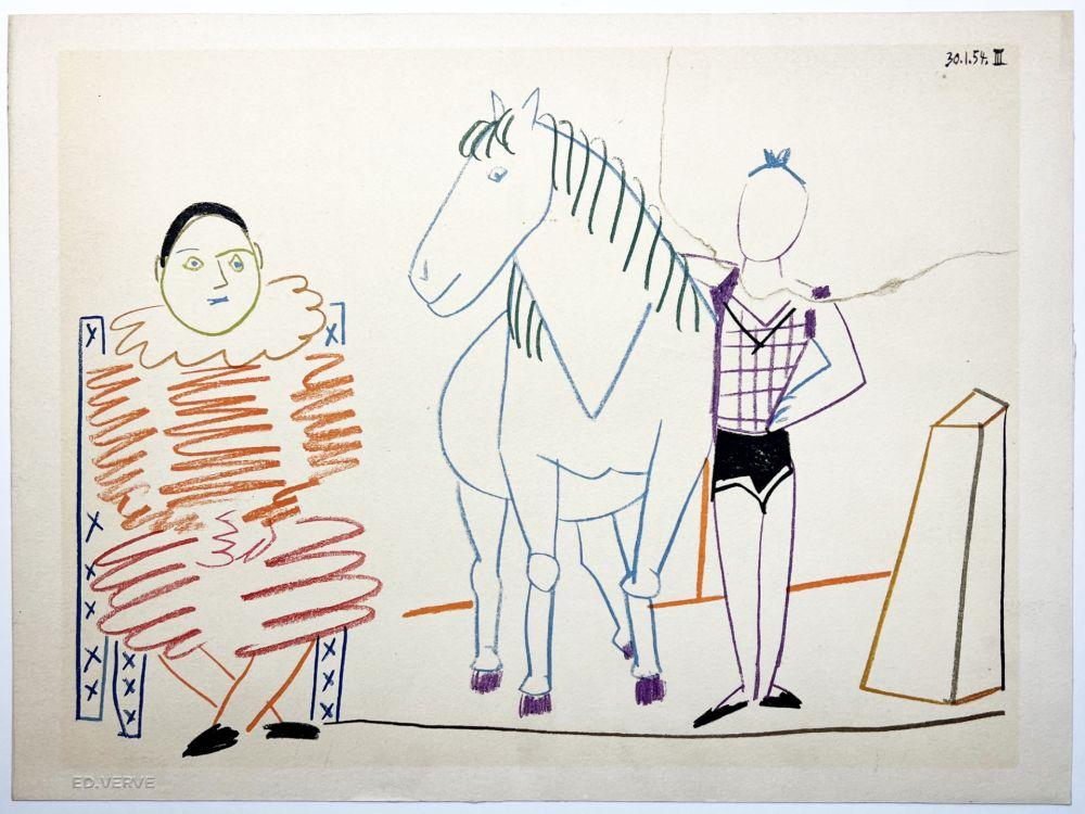 Литография Picasso - L'écuyère, le cheval et le clown (La Comédie Humaine - Verve 29-30. 1954).