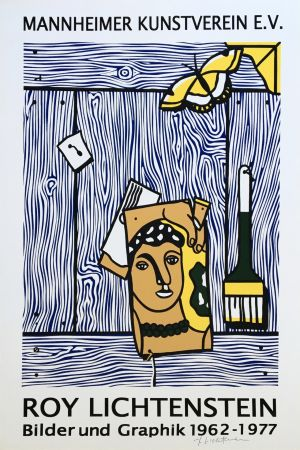 Литография Lichtenstein - 'Léger Head with Paintbrush' Hand Signed Pop Art Poster Print