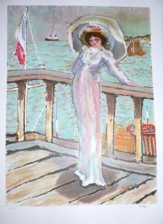 Литография Dilley - L'élégante sur le ponton