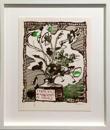 Литография Alechinsky - L' encrier un arrangement de fleurs