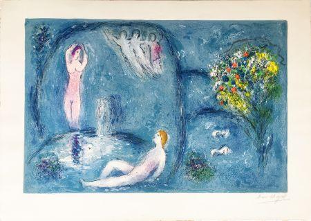 Литография Chagall - LA CAVERNE DES NYMPHES (Daphnis & Chloé: de la suite à grandes marges) 1961.