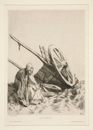 Гравюра Legros - La charrette brisée