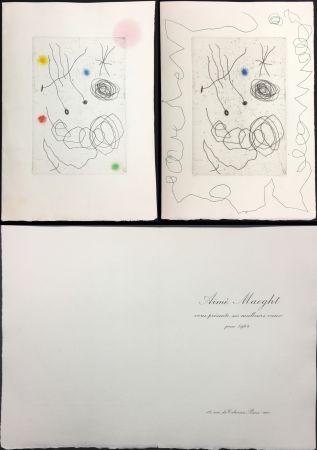 Офорт И Аквитанта Miró - LA CHOUETTE ET L'ESCARGOT (Maeght, Vœux pour 1964). 2 états.
