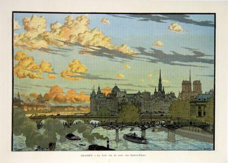 Литография Grasset - La Cité Vue du Pont des Saint Pères