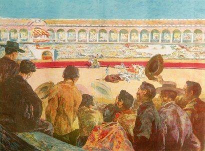Литография Lunois - La Corrida:  L'enlèvement du taureau (Taking Away the Bull)