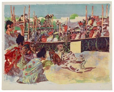 Литография Lunois - La Corrida:  Une corrida à la campagne (A Country Bullfight)