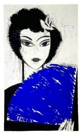 Офорт И Аквитанта Valdés - La Femme à l'éventail