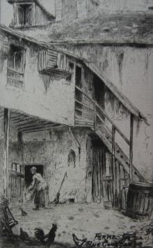 Гравюра Delatre - La ferme de la rue Constance