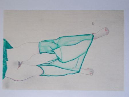 Литография Schiele - La fille au bas vert